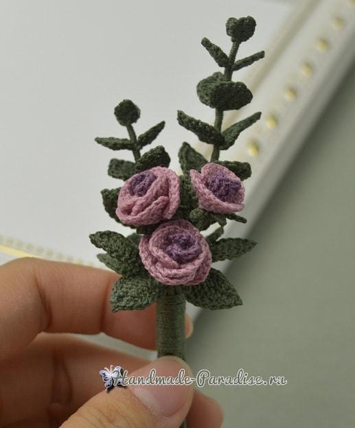 Брошь «Букетик роз» крючком (2)