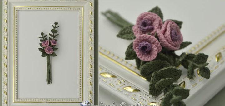 Брошь «Букетик роз» крючком (3)