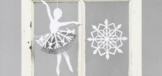 Балерины в снежинках - подвески из бумаги (2)
