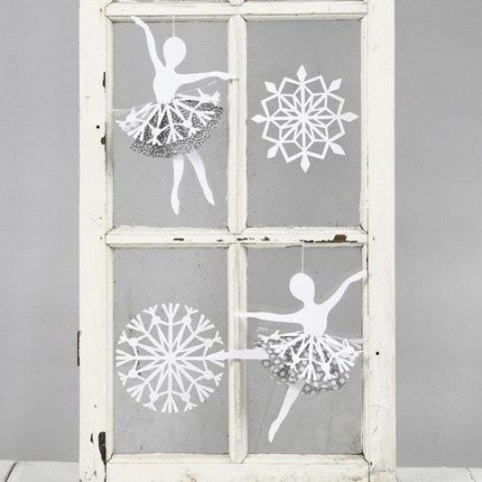 Балерины в снежинках - подвески из бумаги (3)