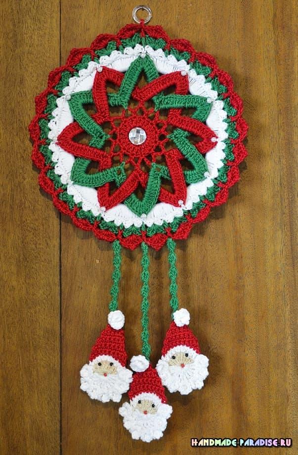 Гирлянда-подвеска крючком с Санта-Клаусами (4)