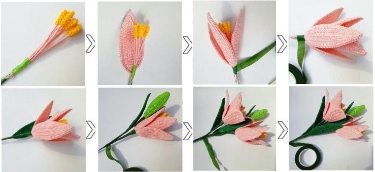Лилия садовая крючком. Схемы вязания (3)