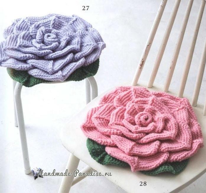 Подушка-сидушка «Роза» крючком (1)