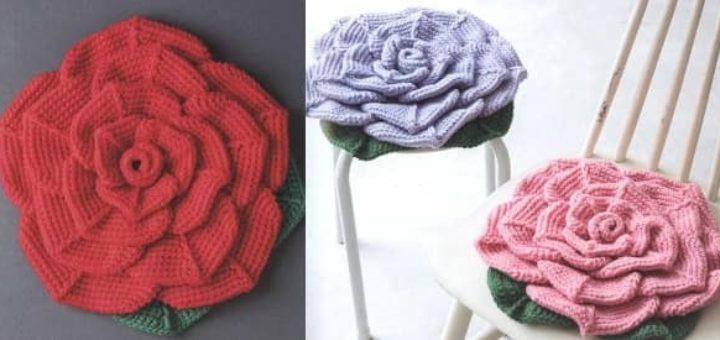 Подушка-сидушка «Роза» крючком (2)
