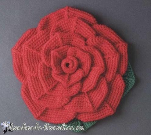 Подушка-сидушка «Роза» крючком (3)