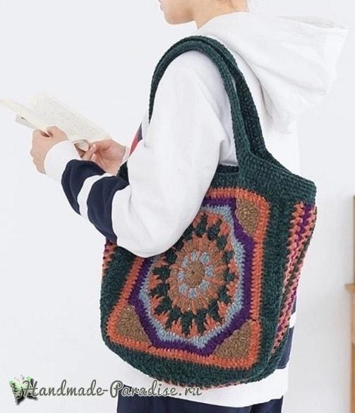 Большая сумка «Мандала» крючком (3)