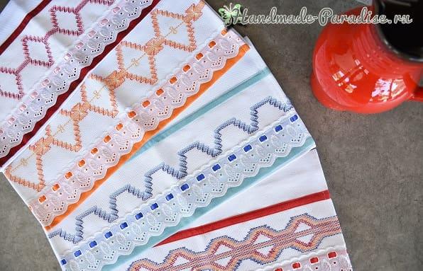 Декорирование полотенца вышивкой счетными швами
