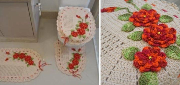 Комплект ковриков крючком для ванной