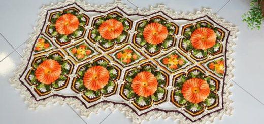 Коврик крючком «Оранжевая цветочная плитка»