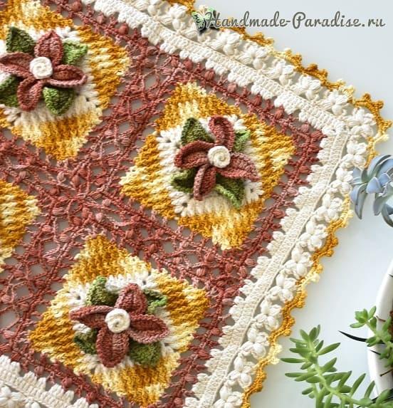 Красивая салфетка-дорожка крючком с объемными цветами (1)