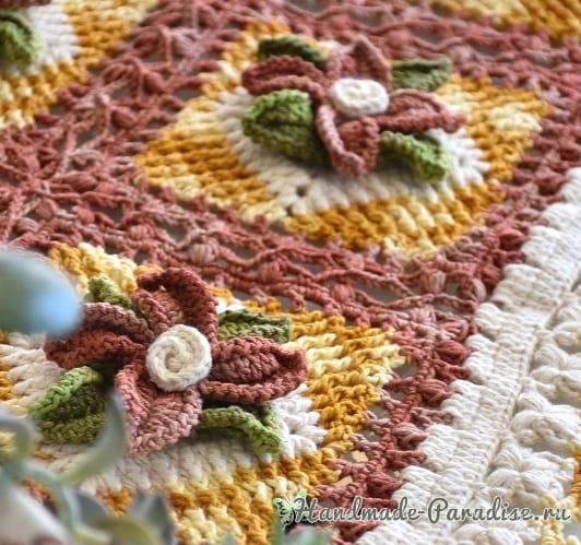 Красивая салфетка-дорожка крючком с объемными цветами (2)