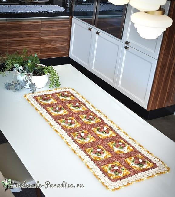 Красивая салфетка-дорожка крючком с объемными цветами (3)