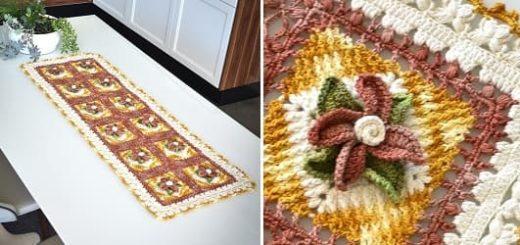 Красивая салфетка-дорожка крючком с объемными цветами (4)