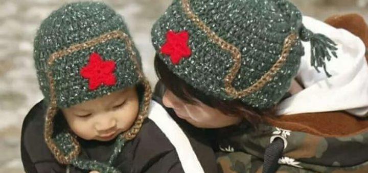 Крючком для мальчика - шапка ушанка со звездой (2)