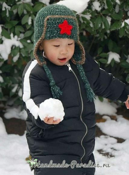 Крючком для мальчика - шапка ушанка со звездой (3)