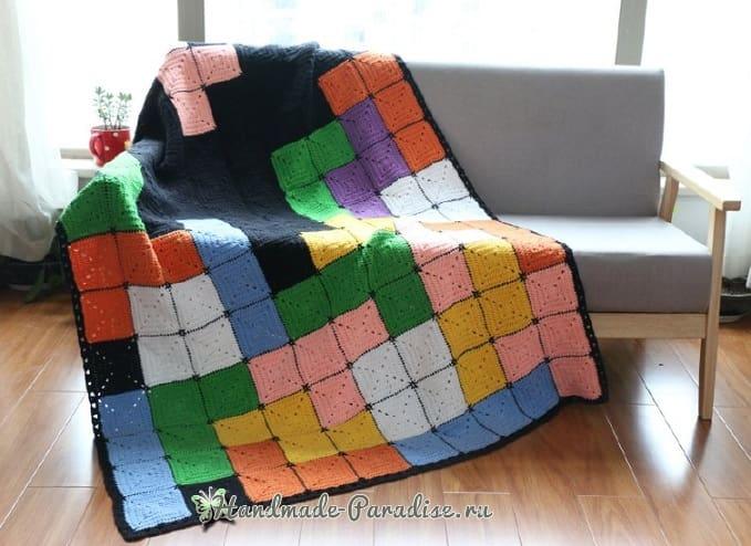 Плед крючком из разноцветных квадратов (1)