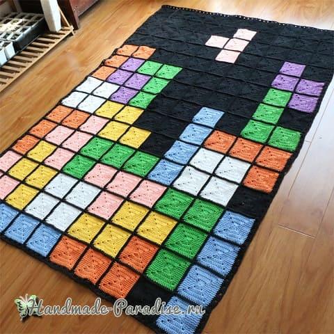 Плед крючком из разноцветных квадратов (2)