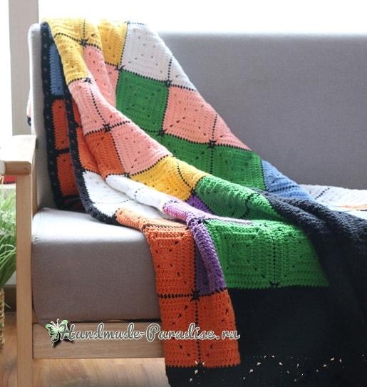 Плед крючком из разноцветных квадратов (3)