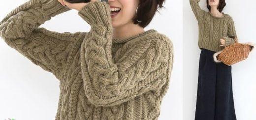Пуловер спицами с большими косами (1)