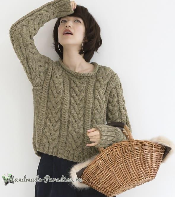 Пуловер спицами с большими косами (2)