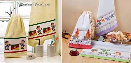 Вышивка для кухонных и банных аксессуаров