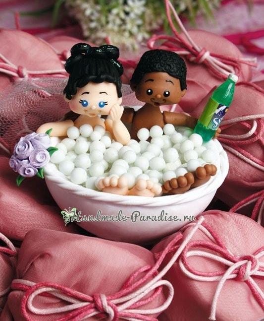 Жених и невеста в ванной. Лепка куколок из холодного фарфора (2)