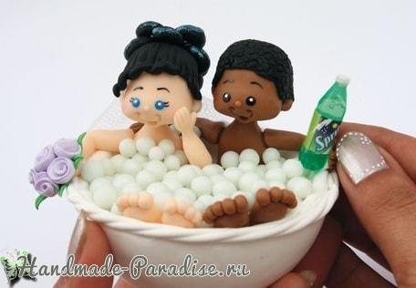 Жених и невеста в ванной. Лепка куколок из холодного фарфора
