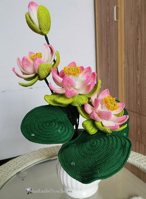 Букет лотосов крючком. Схемы вязания (1)