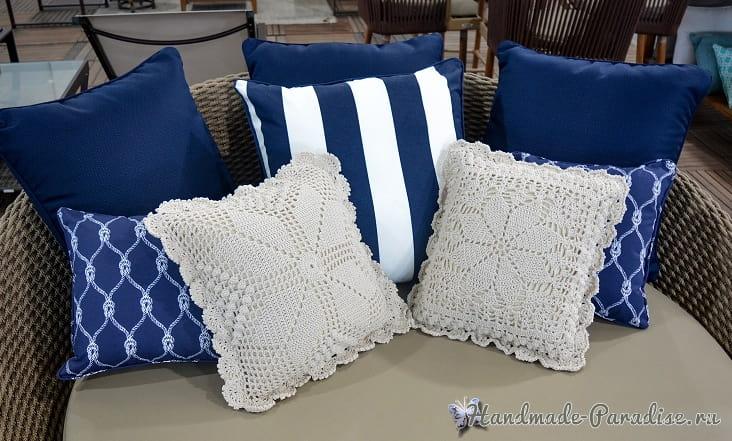 Две диванные подушки крючком (1)