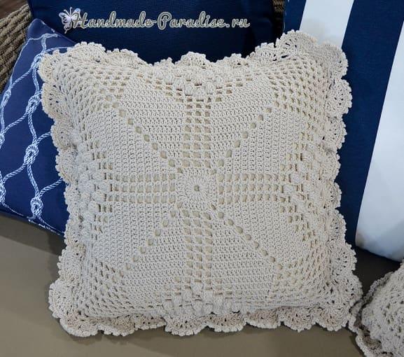 Две диванные подушки крючком (2)