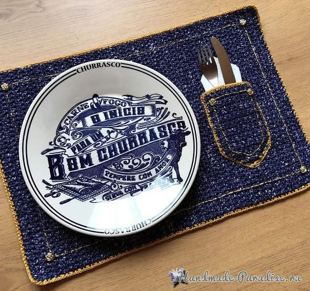 Джинсовая салфетка крючком для сервировки стола