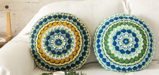 Круглая подушка «Мандала» крючком (2)