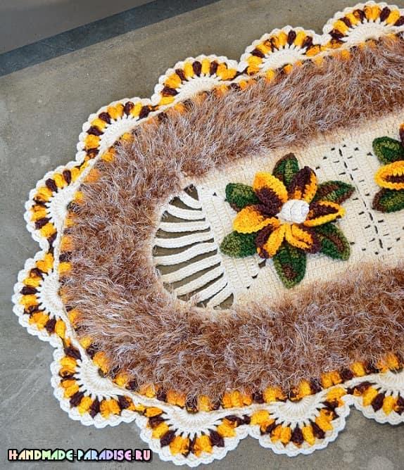 Овальный коврик с цветами крючком (1)