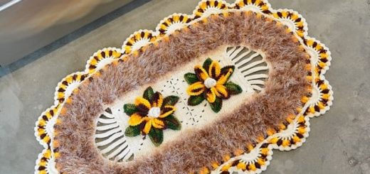 Овальный коврик с цветами крючком (3)