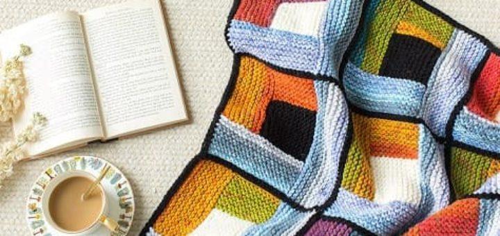 Плед «Пэчворк» спицами. Схемы вязания (2)