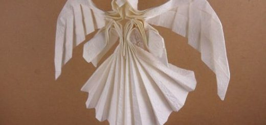 Ангел в технике трехмерное оригами из бумаги (2)
