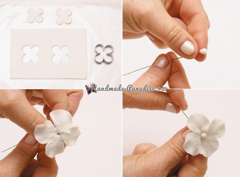 Цветы гортензии из холодного фарфора (2)