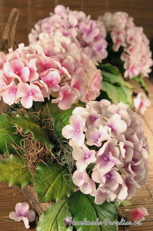Цветы гортензии из холодного фарфора (6)