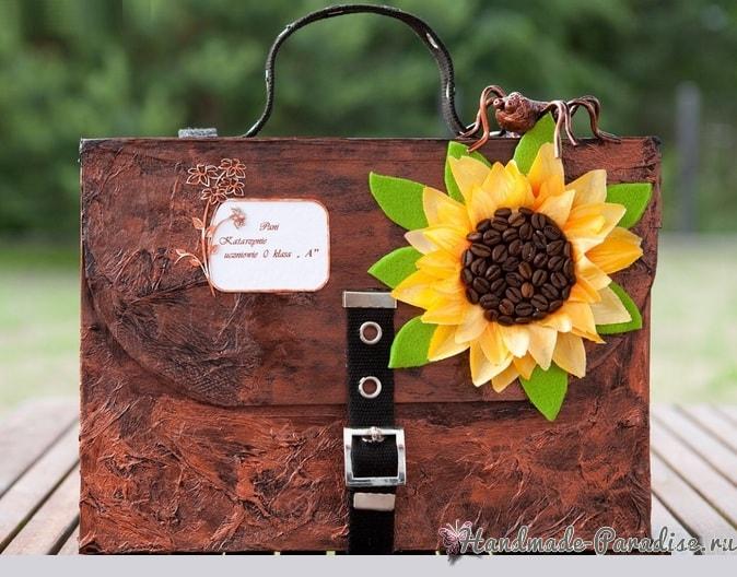 Handmade из картона - портфель с подсолнухом (1)