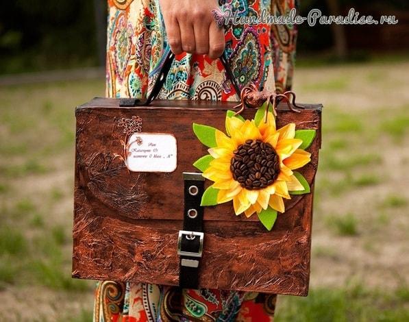 Handmade из картона - портфель с подсолнухом (2)