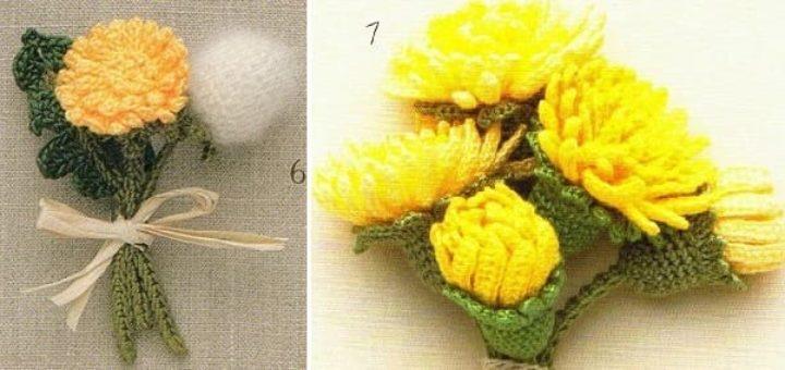 Миниатюрные букетики с хризантемами крючком