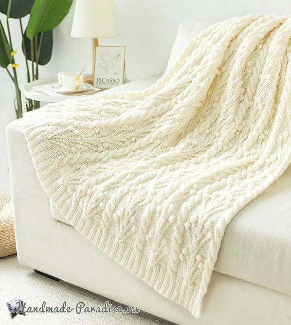 Плед и подушка спицами узором «веточки с шишечками» (1)