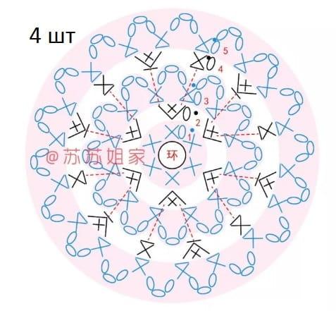 Сумочка-мешок с аппликацией из вязаных цветов (5)