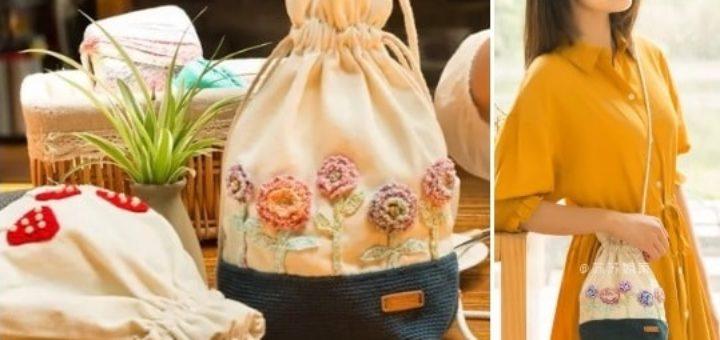 Сумочка-мешок с аппликацией из вязаных цветов