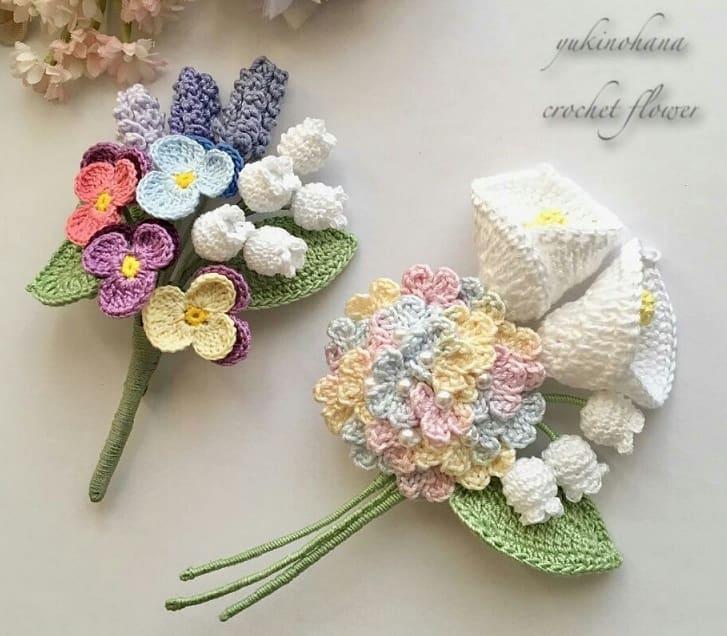 Цветы крючком. Вязаные броши и украшения (1)