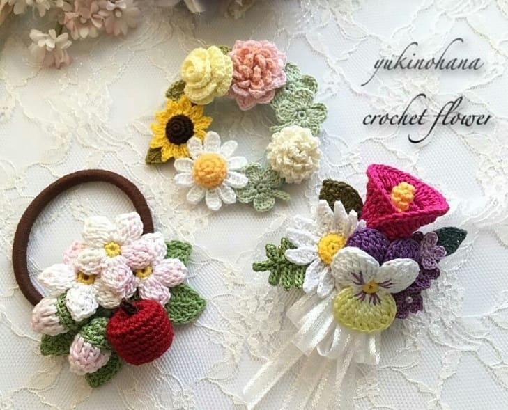 Цветы крючком. Вязаные броши и украшения (3)