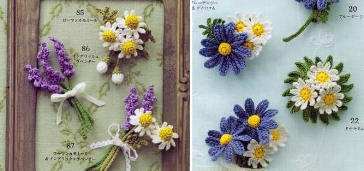 Букетики цветов крючком. Декоративные броши