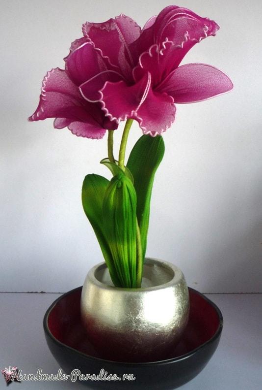 Орхидея Каттлея из капрона своими руками (2)
