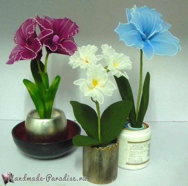 Орхидея Каттлея из капрона своими руками (3)