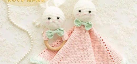 Зайка-комфортер крючком для новорожденных (1)